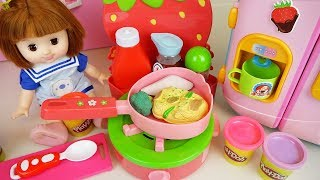 Baby doll Kitchen and play doh with color food cooking toys play