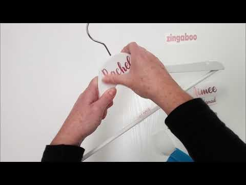 Applying Vinyl Decal Stickers To Wedding Clothes Hanger