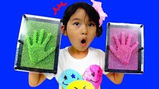 手形!顔型!カラフルなピンアートで遊んだよ♪おもちゃ Pinart himawari-CH thumbnail