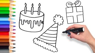 Learn to draw a Party Compilation | Teach Drawing for Kids Coloring Page Videos