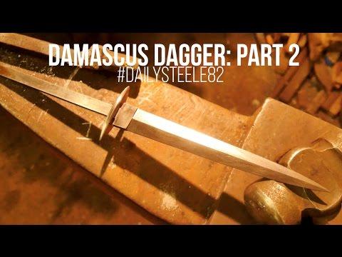 MAKING A DAMASCUS DAGGER #2! Fairbairn Sykes Style
