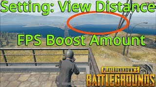 PUBG FPS Guide - Setting: View Distance - Ultra vs Very Low FPS % Differences