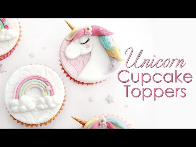 How to make Unicorn & Rainbow Cupcake Toppers - Cake Decorating Tutorial