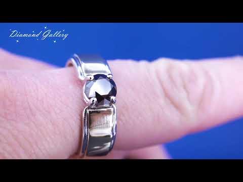 Золотое кольцо с черным бриллиантом 1 карат от Diamond Gallery