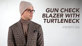 Gun Check Blazer With Turtleneck | Men