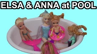 ELSA, ANNA, their kids and Olaf go to the POOL with Barbie and the Secret Door characters