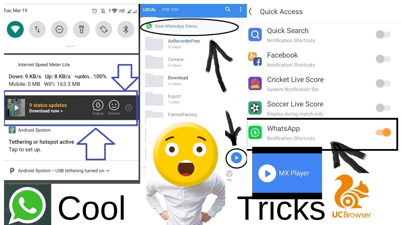 2 Cool tricks every android user must know- Whatsapp, UC Browser, mx player