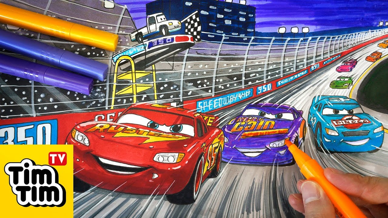 How to draw CARS 3 Lightning McQueen, Cal Weathers and ...