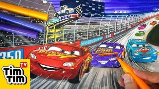 How to draw CARS 3 Lightning McQueen, Cal Weathers and Bobby Swift | Step-by-step Drawing for kids