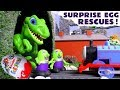 Funny Funlings and Thomas and Friends Kinder Surprise Egg Rescues with Dinosaurs TT4U