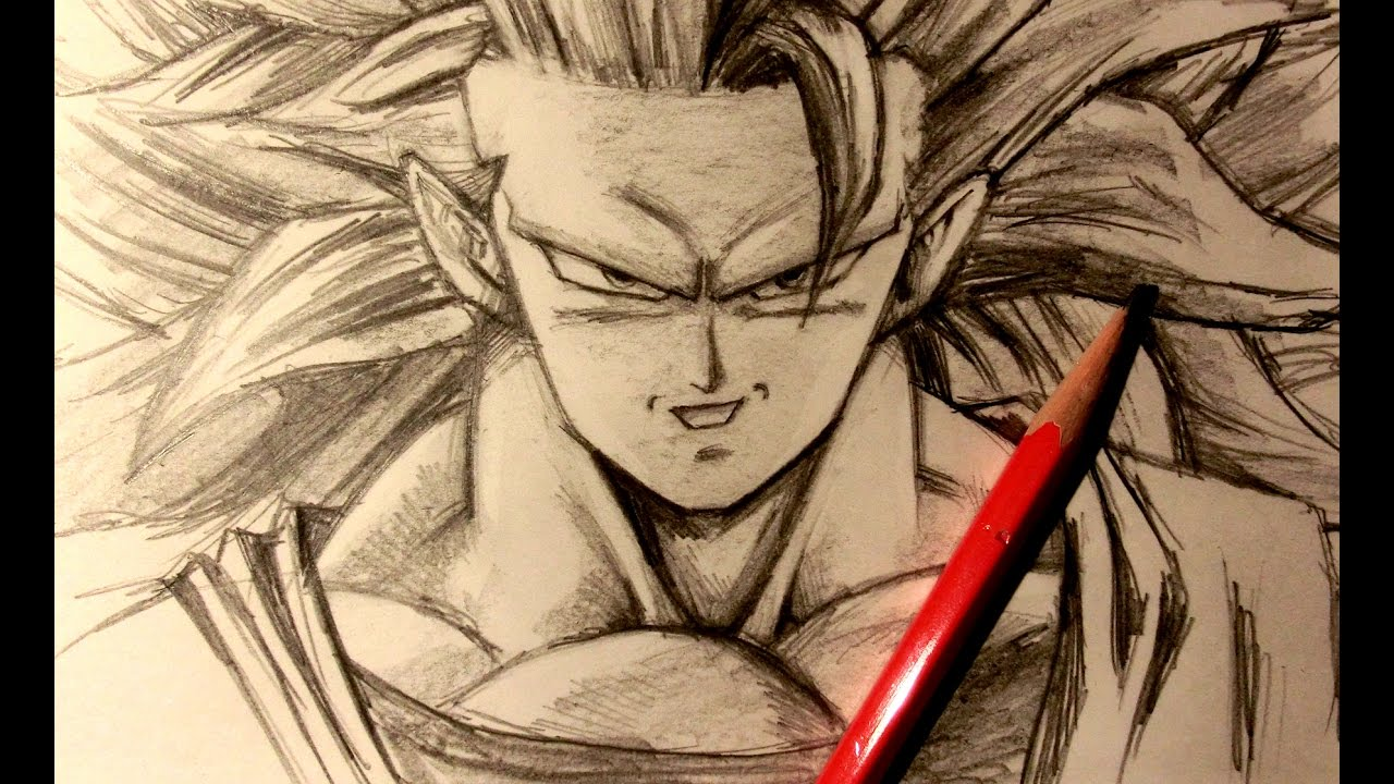 Asmr pencil drawing 34 super saiyan 3 goku request