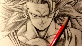 ASMR | Pencil Drawing 34 | Super Saiyan 3 Goku (Request)