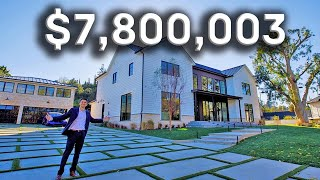 Inside a $7.8 MILLION Tarzana MANSION with a WATERSLIDE and Basketball Court!