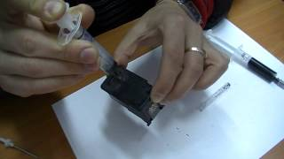 Canon  PIXMA заправка картриджа(Canon заправка картриджа струйного принтера. Не перепутайте цвет краски при заправке цветного картриджа., 2013-10-21T01:16:21.000Z)