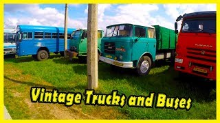 """Old And Vintage Trucks and Buses at the Classic Cars Show in Kiev """"Old Car Land"""" 2018"""