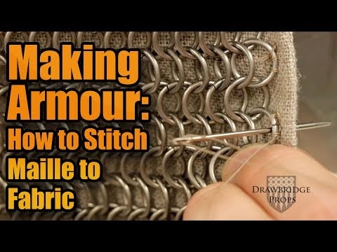 How to stitch maille to fabric - Armor Building Techniques - Hand Sewing a maille mantle