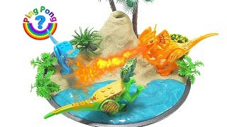 DIY How To Make Dinosaurs Volcano Science Kit with Kinetic Sand /w Nursery Rhymes Songs for Kids
