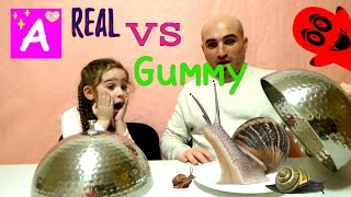 Ryan's Family Review  Real Food vs Gummy Food Challenge! Kid React to gross candy world's largest gummy worms