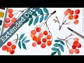 *Extended Cut*  Red Rowan Berry Watercolor Postcard - No Pre-drawing
