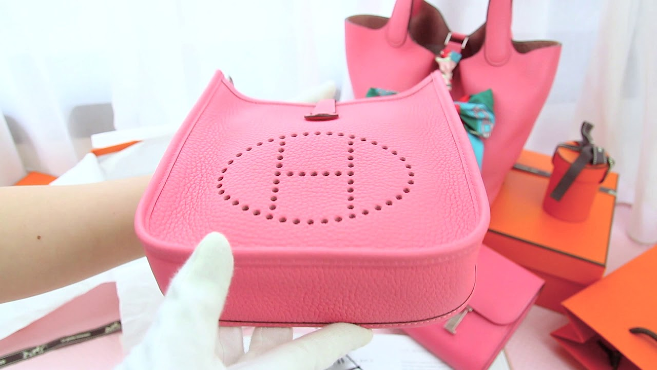Hermes Evelyne TPM 16cm 8W Rose Azalee Taurillon Clemence Y刻杜鵑桃粉銀釦N字型背帶肩背包-Charline Boutique歐洲名牌精品代購