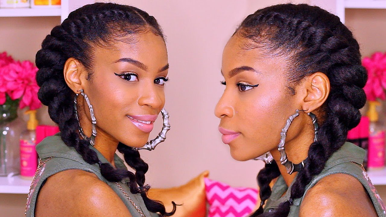 How To Jumbo Flat Twist Natural Hair Protective Style With Clip