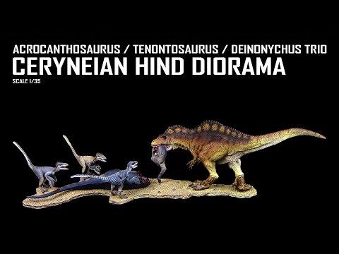 Rebor ™ Ceryneian Hind Diorama - Review - Acrocanthosaurus / Tenontosaurus / Deinonychus Trio