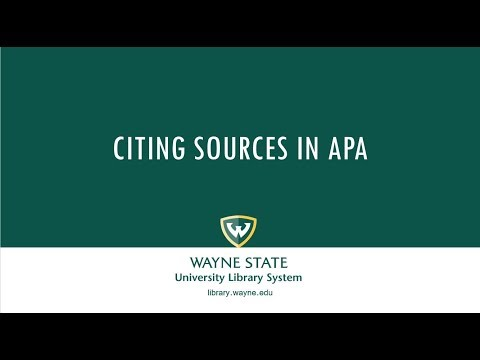 Citing Sources in APA Format