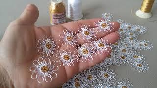 Kulak çubuğu ile yapilan igne oyasi papatyanin yakin cekimi (hermosa flor,beautiful follewers..