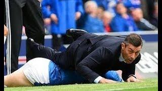 Rangers boss Pedro Caixinha flattened by own player as Josh Windass floors his gaffer