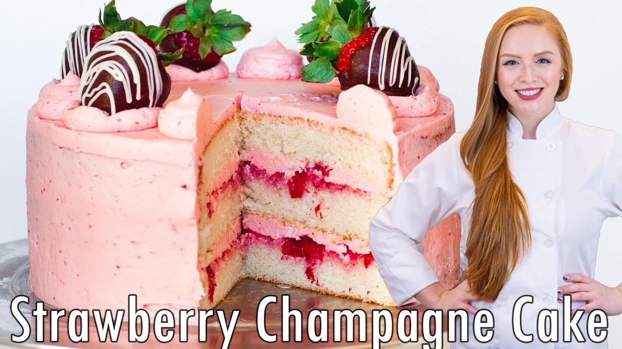 Pink Champagne Strawberry Cake