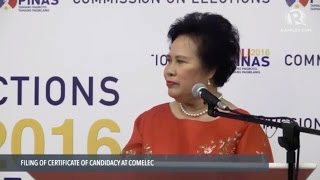 Miriam Defensor Santiago files COC for president