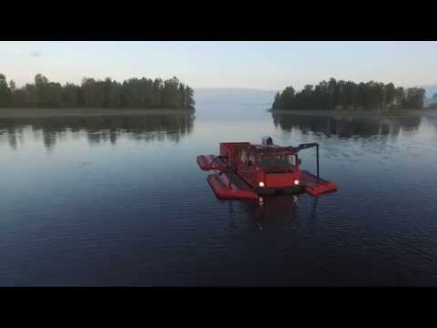 BV206 with pontoons, amphibious test with full load.
