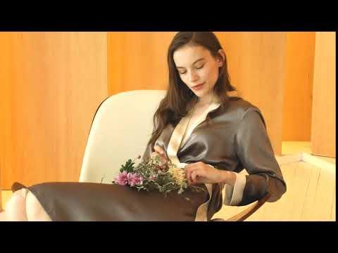 Reverse Trim Silk Robe For Women @LilySilk