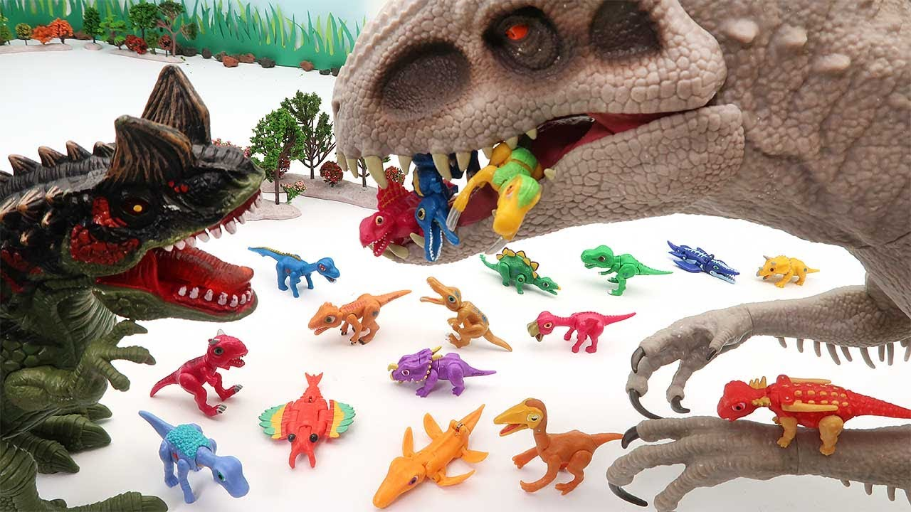 Dinosaur Egg Hatching - Mini Dinosaurs, Transformer Dino Eggs