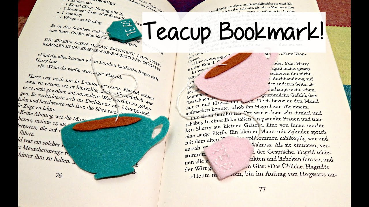 Diy cute felt tea cup bookmark the corner of craft for Cool ways to make bookmarks