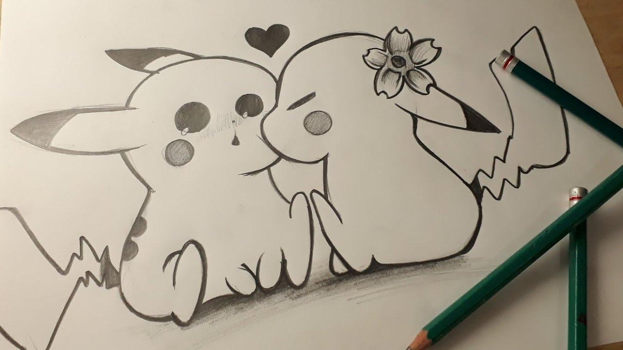 Dibujando A Pikachu Y Su Novia Con Lápiz Dibujos De Amor