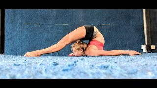 Extreme contortion back bend tear drop training