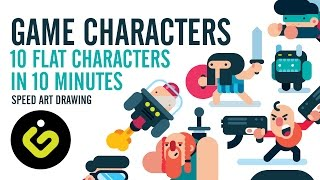 Game Design, 10 Game Characters in 10 Minutes, Speed Design Tutorial in Adobe Illustrator