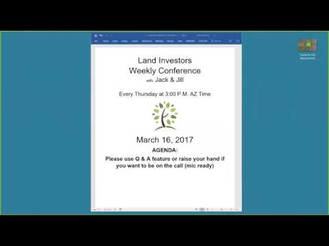 Land Academy Weekly Webinar March 16, 2017