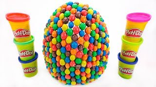 Huge M&M's Surprise Eggs With Toys | Learn Colors with Play Doh | Learn Names and Sounds Animals