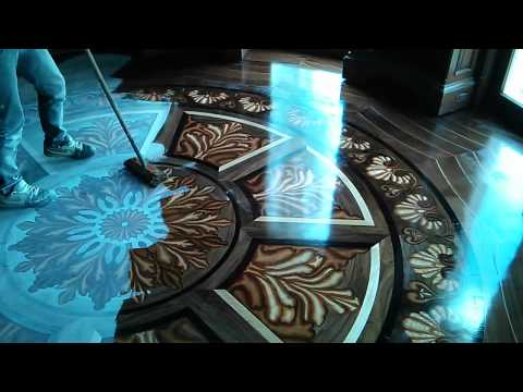 Tahari Library custom 3D wood flooring inlay design - YouTube
