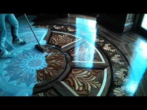 Tahari Library custom 3D wood flooring inlay design - YouTube