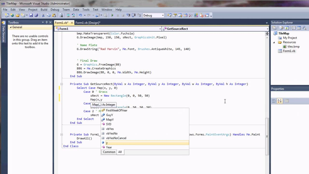 Visual Basic Beginner RPG Game Programming Tutorial - Terrain Collision - YouTube