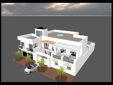 Projet d 39 une maison 3d au senegal youtube for Plan de maison 3d