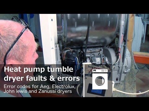 Heat pump tumble dryer finding faults and error codes Aeg, Electrolux, John lewis, Zanussi