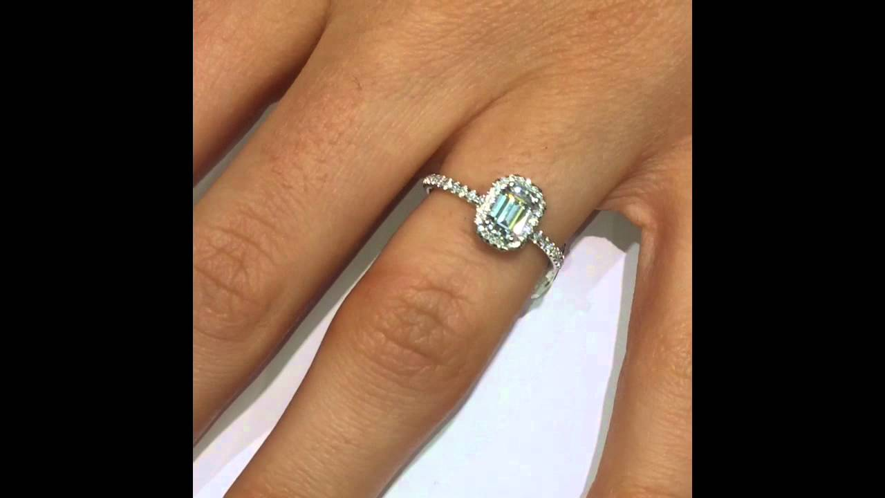 1 Ct Emerald Diamond Engagement Ring In Halo You