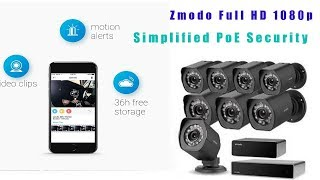 🌃🎈🎉Zmodo Full HD 1080p Simplified PoE Security Camera System All-in-One Solution