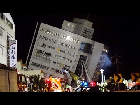 People Jump to Safety After Deadly Earthquake in Taiwan Collapses Buildings