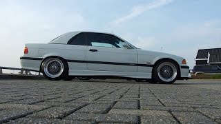 """BMW E36 M3 3.2 SMG cabriolet Alpine White on black. Sitting on 17"""" BBS RS wheels."""