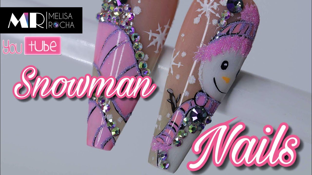 Uñas para navidad con Pintura Acrilica/ Snowman Nails ☃️ ...